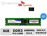 Timetec® Hynix Grade A IC 8GB DDR3 1600MHz (PC3 - 12800) Non-ECC Unbuffered CL11 1.35/1.5V 240 Pins UDIMM Desktop Memory Modules Upgrade - Lifetime Warranty for Acer, ASUS/ASmobile, Biostar, Dell, Fujitsu, Gateway, Gigabyte ,HP,Lenovo, NEC, MSI,Samsung, Sony, Supermicro ,Toshiba and more