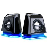 GOgroove BassPULSE 2MX USB Computer Speakers with Blue LED Glow Lights , Powerful Bass and Passive Subwoofers - Works with PC , Apple Mac , Asus , Acer , Dell , HP , Lenovo , Toshiba and More