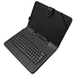 New 10 / 10.2 Inch Black Leather Look Case Mirco USB Keyboard With Stylus and Stand Feature For Protection Of Your 10 or 10.1