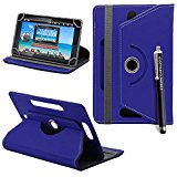 Kamal Star® Universal Premium Quality PU Leather 360 Stand Case Cover Fits All Android Tablets devices + Stylus (UNIVERSAL 8.0'' INCH, Blue Flip 360)