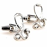 korpikus® ' Stethoscope ' Doctor Theme Shiny Silver Colour Stainless Steel Cufflinks In Free Gift Bag