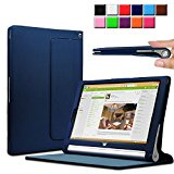 Infiland Lenovo Yoga Tablet 2 10.1 Case Cover- Folio PU Leather Slim Stand Case Cover for Lenovo Yoga Tablet 2 10.1-Inch Android and Windows Version (with Auto Sleep / Wake Feature)(Navy)