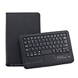 AFUNTA Detachable Universal Bluetooth Keyboard For 7-8 Inch Tablet Wallet Pouch Case Cover Support Android IOS Windows Systems For Apple iPad mini Samsung Galaxy Tab 7.0 P3100 P3110 P6200 Tab 3 7.0 T210 P3200 8.0 T310 / Google New Nexus 7 2nd / Toshiba AT270-T01S / Asus Fonepad 7 inch / Lenovo A3000/Pad A2207-Black
