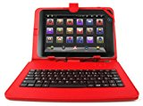 DURAGADGET Red Faux Leather Case Cover With Mini Stylus & Micro USB FRENCH Keyboard For Point Of View Tab / Chuwi V99 9.7
