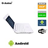 G-Anica Chromebook 10.1-inch Full-HD Laptop (WIFI, Webcam, Dual-Core 512MB RAM, 4GB HDD) with Android 4.4.2 Netbook (White)