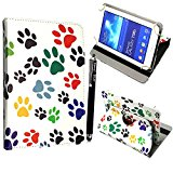 Kamal Star® Universal Premium Quality PU Leather 360 Stand Case Cover Fits All Android Tablets devices + Stylus (UNIVERSAL 7.0'' INCH, Multi Dog Cat Foot 360)