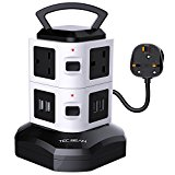 TEC.BEAN 3M 4 USB 6 Way Outlet Extension Lead Surge Protector Vertical Power Strip with USB Charging Ports Station USB Extension Lead Switch with Overload Protection (Black 4 USB 6 AC)