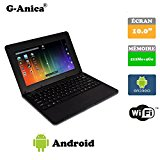 G-Anica10.1-inch Full-HD Laptop (WIFI, Webcam, Dual-Core 512MB RAM, 4GB) with Android 4.4.2 Netbook(Black)