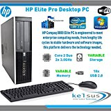 HP Eite Pro 8000 SFF Dektop Computer - Core 2 Duo 3.0GHz - Small Form Factor - Windows 7 Professional - WiFi (Windows 7 Pro - 8GB DDR3 - 250GB HDD)