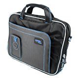 DURAGADGET Protective Secure Adjustable Shoulder Strap Bag Case For Panasonic Toughbook CF-D1 MK1 Outdoor Tablet (Intel Core i5-2520M vPro 2.5 GHz Processor) - In Blue / Black, With Storage Space