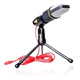NEXTANY® Professional Skype Audio Sound Podcast Microphone Mic PC Laptop Karaoke Studio with Stand For Laptop PC Computer (Black)