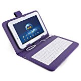 Purple Premium Leather Case Cover Stand with MIRCO USB Keyboard for 7