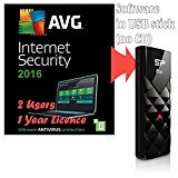 Bundle AVG Protection 2016 for 2 Users / Computers 1 Year Licence ( Internet Security Antivirus Software, supplied in 8GB USB Stick, Windows 10, 8, 7 Compatible)