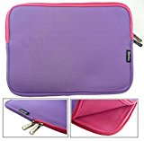 Emartbuy® Purple / Pink Water Resistant Neoprene Soft Zip Case Cover Sleeve With Pink Interior & Zip Suitable for Lenovo N22 11.6 Inch HD Chromebook Laptop ( 11.6 - 12.5 Inch Laptop )