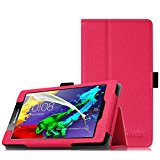 Fintie Lenovo Tab 2 A7 Case - [Folio Fit] Premium PU Leather Stand Cover with Stylus Holder for Lenovo Tab 2 A7-10 / Tab 2 A7-30 7-Inch Android Tablet, Magenta