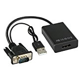 VGA to HDMI Adapter, 1080P VGA to HDMI & USB Audio HD Video Converter PC to TV Cable Adapter for Laptop HDTV DVD, Black