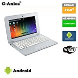 G-Anica 10.1-inch Full-HD Laptop (WIFI, Webcam, Dual-Core 512MB RAM, 4GB) with Android 4.4.2 Netbook(Silver)