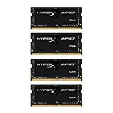HyperX Impact HX424S15IBK4/64 Notebook Memory 64 GB Kit (4 x 16 GB) 2400 MHz DDR4 CL15 SODIMM, 1.2 V, 260-Pin