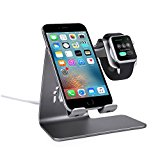 Bestand 2 in 1 Aluminum Mobile Phone Desktop Stand, Tablet Holder, Apple Watch Charging Dock Station for Apple iWatch/ iPhone/ iPad - Grey